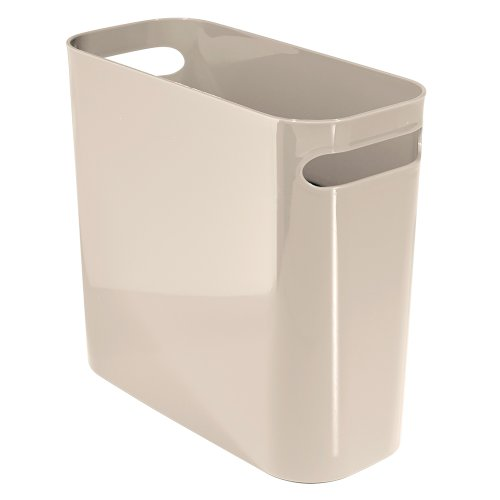 Price comparison product image iDesign Una Rubbish Bin with Handles,  Plastic Wastepaper Bin for Office,  Kitchen or Bedroom,  Taupe