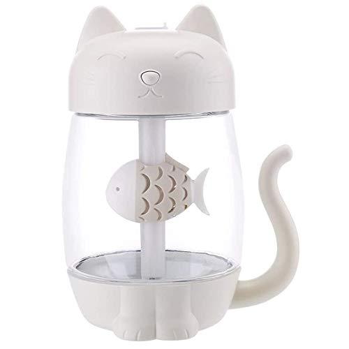 WFSH 350 ml Humidificador de Aire de Gato con Color LED Luz Ultrasonic 3 en 1 Adorable Cat Eat Fish Humidificador USB Aroma Difusor Fogger (Color : White)