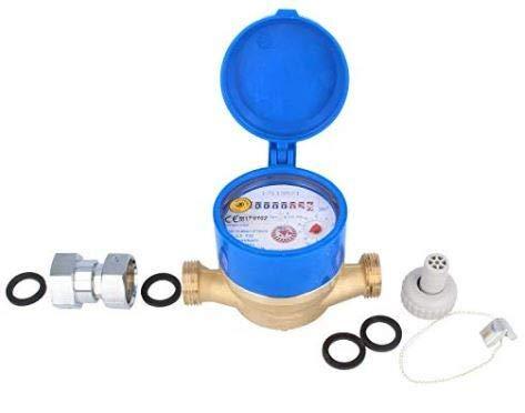 Schütz Zapfhahn Wasserzähler Set Durchfluss Qn 1,5, Kaltwasser, Baulänge 110 mm Eichung 2020 3/4 Zoll Anschluss Garten Wasseruhr