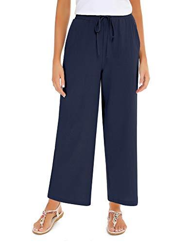Akalnny Pantalones de Lino Mujer Pantalón con Cordón de Cintura Elástica Casual Pantalones de Verano con Bolsillo