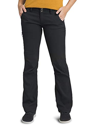 prAna - Women's Halle Roll-Up, Water-Repellent Stretch Pants for Hiking and Everyday Wear, Regular Inseam, Black, 4