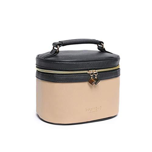 Sac cosmétique Femme Portable Simple Cosmétique Cas Super Fire Box Portable Grande Capacité Sac de Transport, Cuir, Noir Kaki, 19 * 13 * 12.5cm