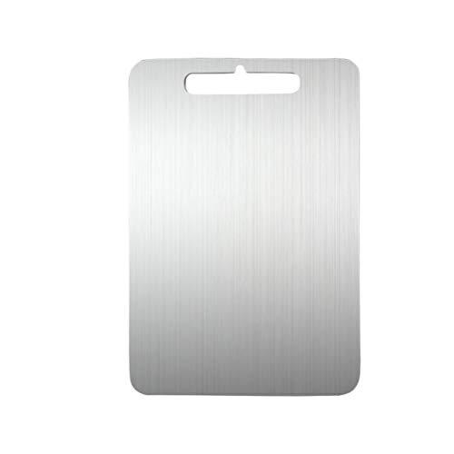 Hemoton Stal szlachetna deska do krojenia kwadratowe deski do krojenia owoce blok rzeźniczy na piknik restauracja kuchnia mieszkalna 30 x 46 x 0 2 cm (srebrny)