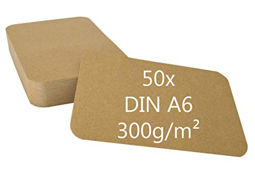 DIN A6 Postkarten Karteikarten Set Blanko mit Umschlägen und runden Ecken wählbar (Kraftpapier braun rund 300g/m², 50 Karten)