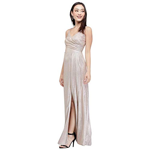 David's Bridal Glitter Metallic Draped Double Skinny Strap Gown Style 21882D, Champagne, 6