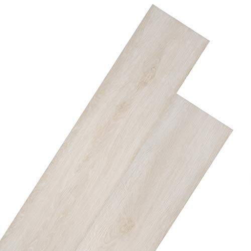 vidaXL 18x Lámina Suelo 5,26m² PVC 2mm Roble Blanco Baldosa Loseta Tarima