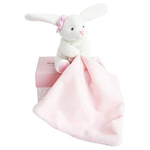 Doudou et Compagnie - Scatola con fiori e pupazzetto a forma di coniglio con fazzoletto di peluche, rosa, Codice dell'Articolo: DC3337