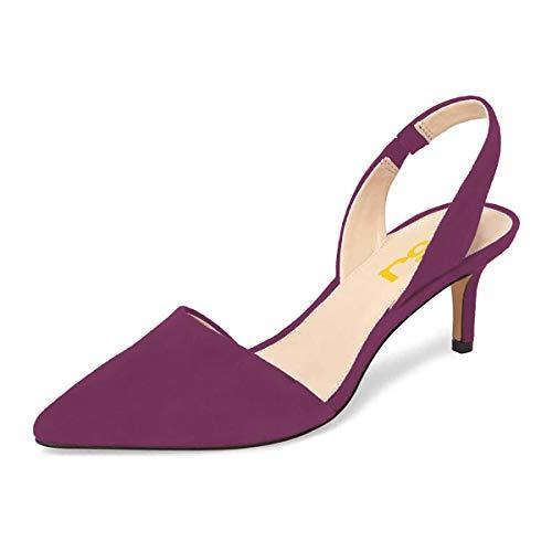 FSJ Fashion Low Kitten Heels Pumps for Women Pointed Toe Slingback Sandals Dress Shoes Size 4 DarkMagenta