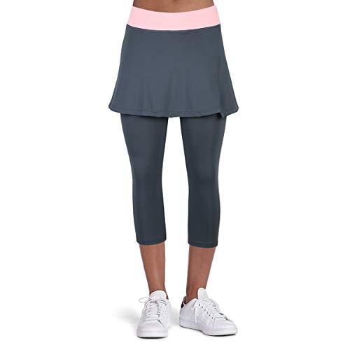 BEROY Sportrock Damen Tennis Hockey Golf Sport Hosen Leggings mit Rock Skort Laufrock Tennisbekleidung Tennisrock Grau M