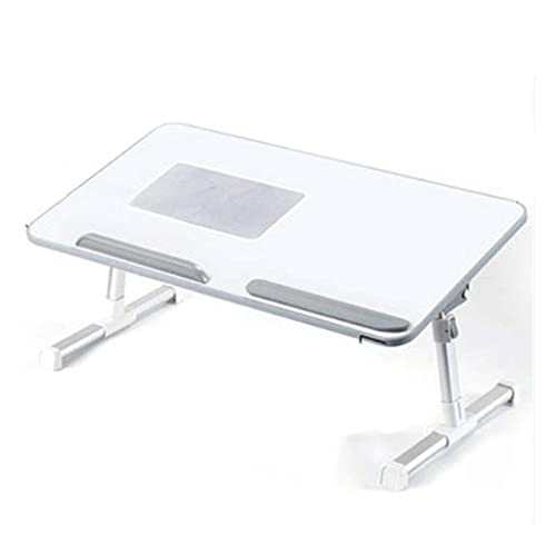 HYLX Computer Table Folding Table Laptop Tray Table with Foldable Legs, Wood Bed Breakfast Tray, Smartphone Tablet Laptop Desk for Homework Online College,White