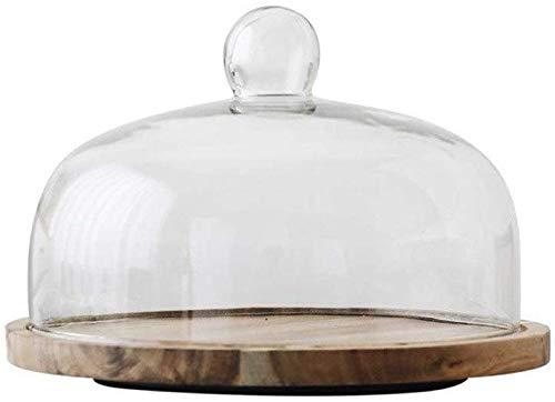 ZXL Glazen cakevorm, dienblad voor salade, voor bruiloft, restaurant, vesten, houten dienblad, draaibaar dienblad voor taart