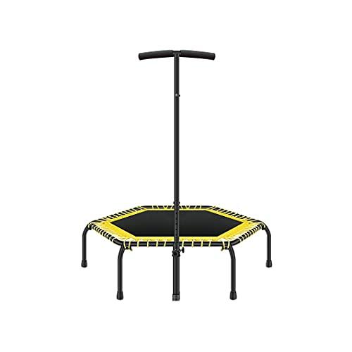 BKWJ Trampolines Silent Trampoline Ejercicio Plegable Trampolín con pasamanos Ajustables para Entrenamiento de Cardio de Entrenamiento en Interiores, límite máximo 250kg / 550 lbs, 110 * 130cm / 43.3