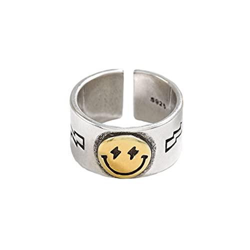 Mayelia Anillo de cara sonriente oro vintage abierto anillo de acero inoxidable ajustable sonriente nudillo anillo para mujeres y niñas