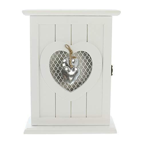 """Schlüsselkasten """"Silver heart"""" aus Holz, weiß, im Landhaus Stil, Schlüsselschrank, Hängeschrank"""