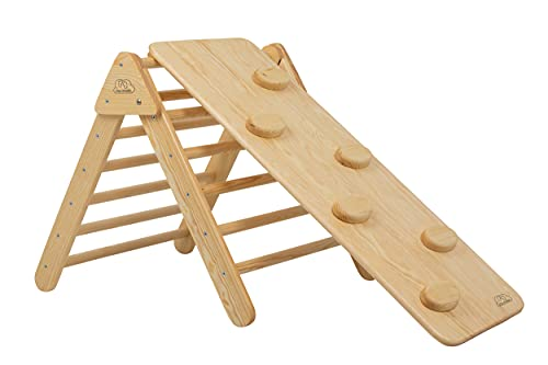 Step Crumbs Kletterdreieck und Rutsche | massives Holz | Klettergerüst Kinder | Freistehende Rutsche | Kleinkinderrutsche für Indoor | Sprossendreieck | Pikler Triangle Montessori