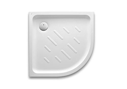 Roca - Plato de ducha acrílico angular con fondo antideslizante - Serie Easy, Color Pergamon