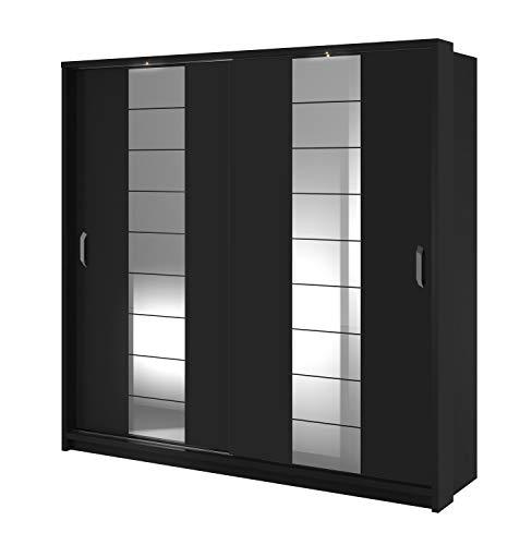 Schwebetürenschrank Kleiderschrank AR-08 ARTI Garderobenschrank Schrank Schiebetür Schiebeschrank mit Spiegel, 2 Kleiderstangen, 8 Einlegeboden und LED Beleuchtung (Weiß Matt) (Schwarz Matt)