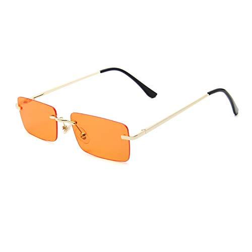 Astemdhj Gafas de Sol Sunglasses Gafas De Sol Rectangulares Pequeñas De Lujo para Mujer, Tonos Grises Y Rosas para Mujer, Gafas De Sol Cuadradas Sin Montura Vintage De Los Años 90Anti-UV