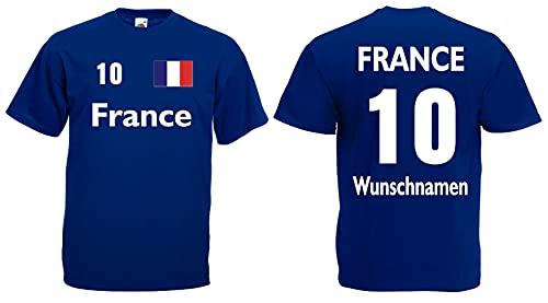 France-Frankreich T-Shirt Herren Trikot mit Wunschname und Nummer royal XXXL