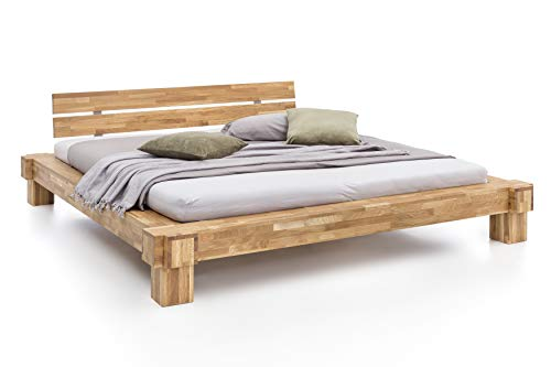 Unbekannt Massivholz-Bett Kavas aus Wildeiche, Balkenbett, massives Holzbett als Doppel- und Komfortbett verwendbar (140 x 200 cm)