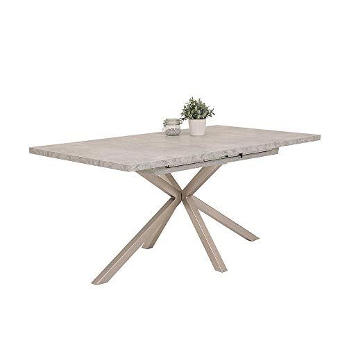 Pharao24 Esszimmer Tisch in Beton Grau Kulissenauszug