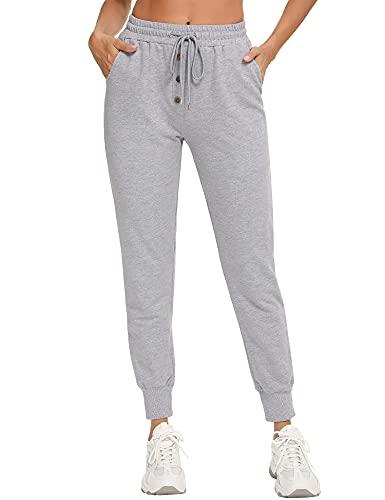 Doaraha Pantalon de Sport Femmes Pantalon Pyjama Femme Taille Haute Chic 100% Coton Décontracté Legging de Sport Femme Pantalon de Yoga Jogging Fitness avec Poches, Gris, S