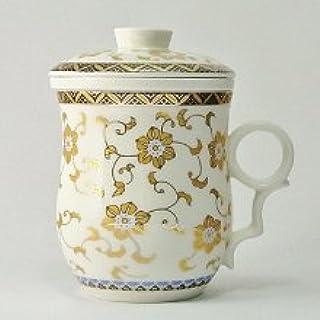 白磁の中国茶器・金花杯(茶漉し付マグカップ)300ml
