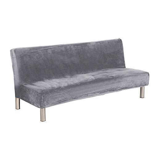 Más gruesa de felpa sofá cubierta de color sólido SlipCover completa cobertura sofá cama plegable sin apoyabrazos sofá futón cubierta protectora de muebles para el dormitorio, oficina, decoración del