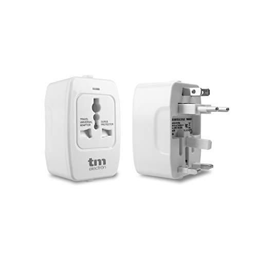 TM Electron TMUAD021 Adaptador de Corriente Universal de Viaje, 4 configuraciones de enchufes, Compatible con más de 160 países y protección sobretensión