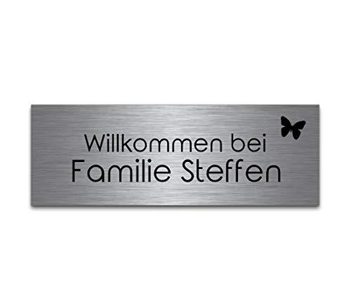 Türschild Briefkastenschild mit Gravur | Namensschilder aus Edelstahl selbstklebend oder mit Bohrlöcher 10x3,5 cm eckig mehr als 80 Motive Klingelschilder - Türschilder für die Haustür mit Namen selbst gestalten