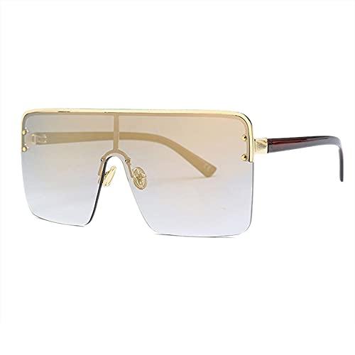 HAIGAFEW Gafas De Sol De Gran Tamaño para Mujer Gafas De Sol De Una Pieza Hombre Mujer Gafas Graduadas Uv400 Proteger Los Ojos-Beige