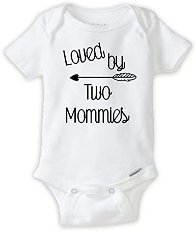 Loved by Two Mommys Onesie LGBT Pride Baby Onesie Great Lesbian Parents Gift idea Newborn White product image