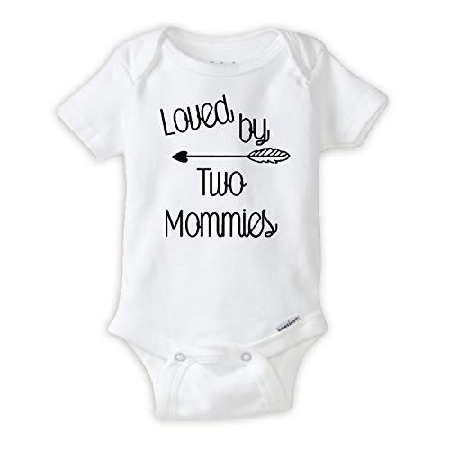 Loved by Two Mommys Onesie LGBT Pride Baby Onesie Great Lesbian Parents Gift idea (3-6 Months) White