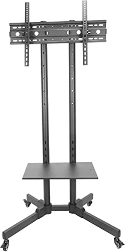 Upgraded TV Floor Stand, 32in-65in Mobile LCD TV Rack Bracket with Wheels Universal Adjustable TV Monitor Base Stand