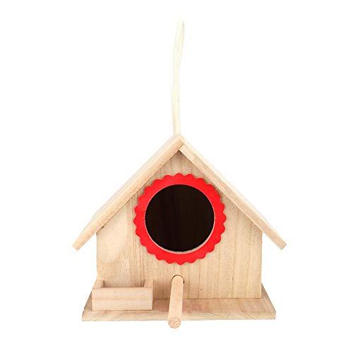 Jeffergarden 7,2 * 6,2 * 5,9 inch Bruin Interessant Duurzaam Robuust Hanging Outdoor Houten huis vogelhuisje voederbox Raststation met zuignap rood