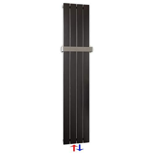 Design Paneelheizkörper Heizkörper Badheizkörper Anthrazit mit Mittelanschluss Handtuchstange Edelstahl alle Größen (457 Watt nach EN442)