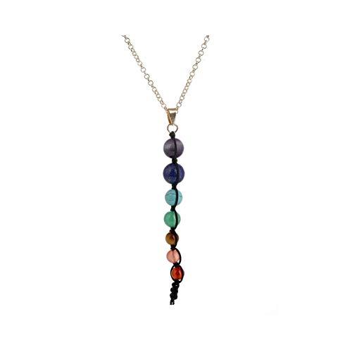HSZW Collar de Cadena de clavícula Vintage Choker Joyas Coloridas Perlas Tejidas Piedra Natural Amatista Collar xiangbala Chakra suéter Cadena (Color : Black)