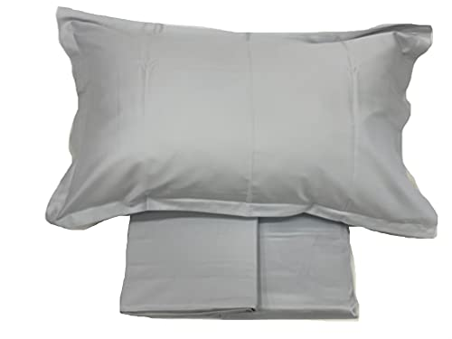Completo di lenzuola matrimoniali in Puro Raso di cotone 300TC effetto setificato Fazzini art. Trecento qualità top (Grigio Perla 268)