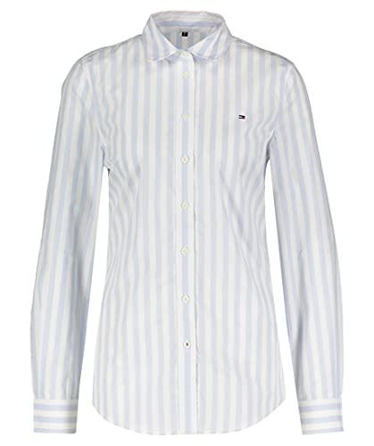 Tommy Hilfiger ORG Cotton Regular Shirt LS Camisa, Azul, 40 para Mujer