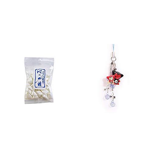 [2点セット] シルクはっか糖(150g)・さるぼぼペアビーズストラップ 【青】/縁結び・魔除け//