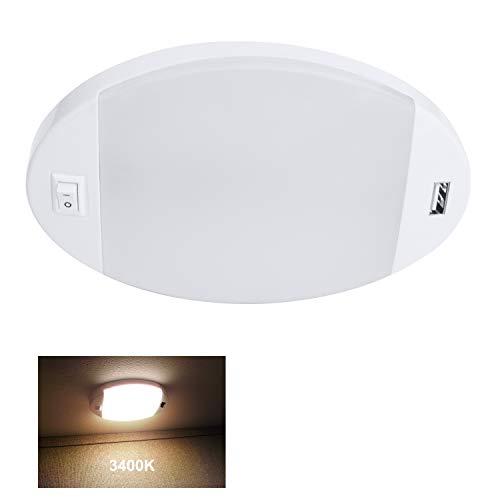 Facon 12V LED Deckenleuchte mit USB-Ladegerät, Hochgeschwindigkeitsladung 5V 2,4A, 12V DC Innenbeleuchtung mit EIN- und Ausschalter für Wohnmobile Camper Caravan Trailer Boat