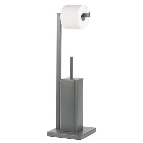 Baroni Home Porta Scopino con Porta Carta Igienica Modern in Metallo Grigio Antracite 20x20x63 cm