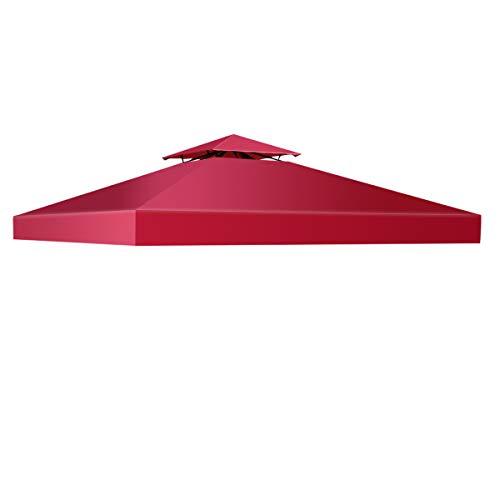 COSTWAY Pavillondach Ersatzdach Pavillonplane Dachabzug Kaminabzug Dachplane für Pavillon 3x3M (Weinrot)