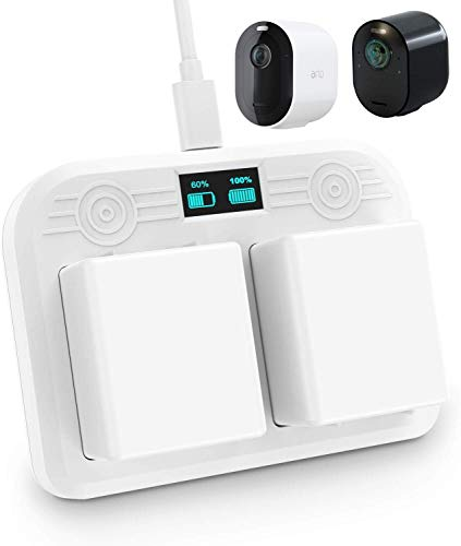 Charging Station for Arlo Pro 3 and Arlo Ultra - with Dual Charging Port and Type-C Cable - Charge up to 2 Arlo Ultra and Arlo Pro 3 Batteries at The Same Time with (LED Display) Function by OkeMeeo