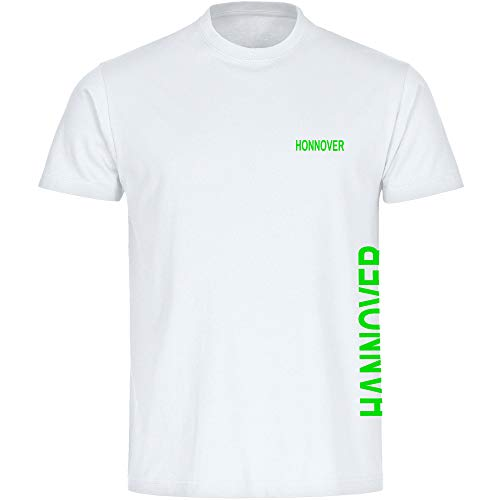 Multifanshop Herren T-Shirt Hannover seitlich - Schriftzug auf der Brust und auf der Seite - weiß - Größe S bis 5XL - Fußball Fanartikel Fanshop,Farbe:weiß,Größe:L