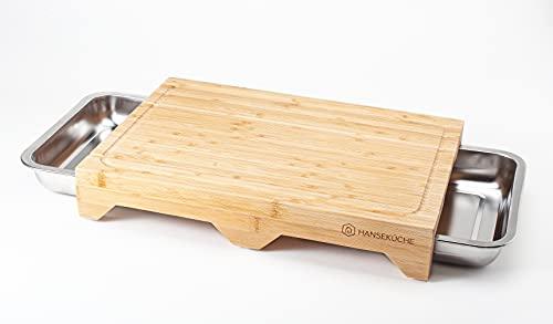 Hanseküche Schneidebrett mit 3 Auffangschalen – Hochwertiges Bambus Schneidebrett mit Saftrille und Edelstahl Auffangbehältern – Robustes Schneidebrett aus Holz