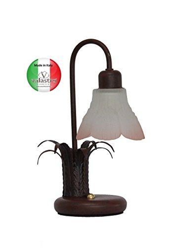 VALFB1140 LT1 NR LIAM tafellamp Made in Italy Vintage van smeedijzer, zwart/roest, gemaakt door Valastro Lighting