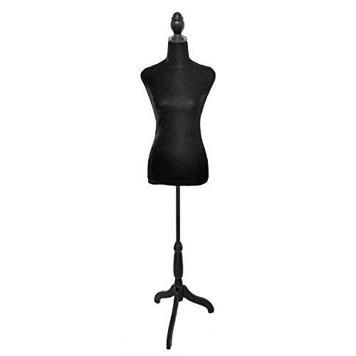 Black Female Dress Form Mannequin Torso Body with Adjustable Tripod Stand Dress Jewelry Display