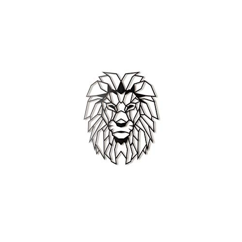Hoagard Lion Head XL Geometric Metal Wall Art, Löwenkopf XL Geometrische Metallwand-Kunst 65cm x 82cm | Geometrische Metallwandkunst & Wanddekoration