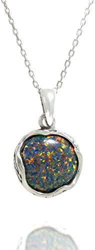 925 Sterling Silver Black Opal Vintage Style Round Pendant Lab Created October Birthstone Dainty product image